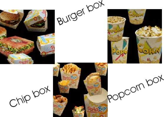 Burger trays, chip trays and popcorn boxes